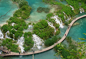 Plitvice lakes from bird view